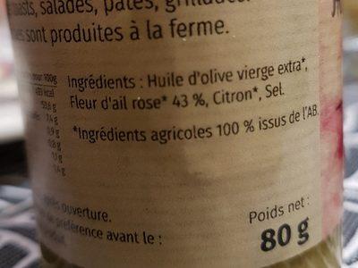 Herbes A L Huile Fleur D Ail Rose Les Jardins De La Vere 80 G