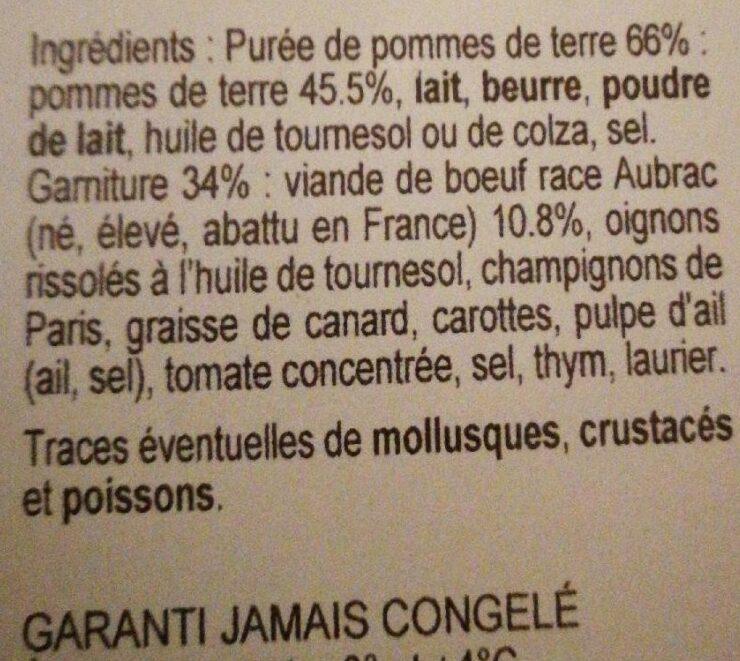 Parmentier de boeuf race Aubrac - Ingrediënten - fr