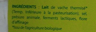 Fromage la Brique au lait du Vercors bio (25 % MG) - Ingredients - fr