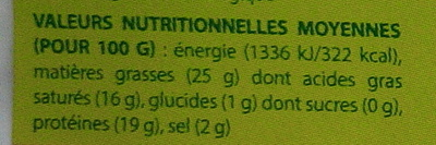 Fromage la Brique au lait du Vercors bio (25 % MG) - Nutrition facts - fr