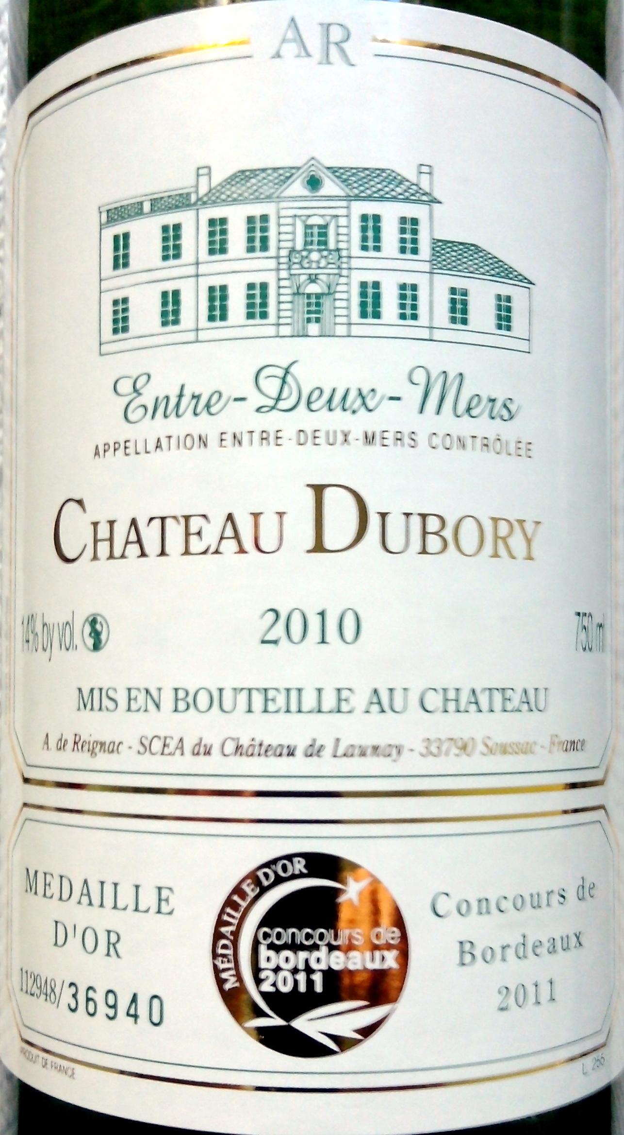 Château DUBORY 2010 - Ingredients - fr