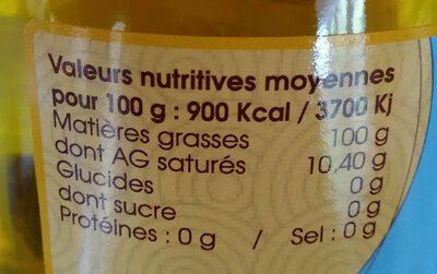 Huile vierge fermière de tournesol - Informations nutritionnelles - fr