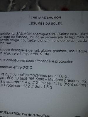 Tartare saumon légumes du soleil - Voedingswaarden