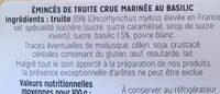 Truite marinée au basilic - Ingredients