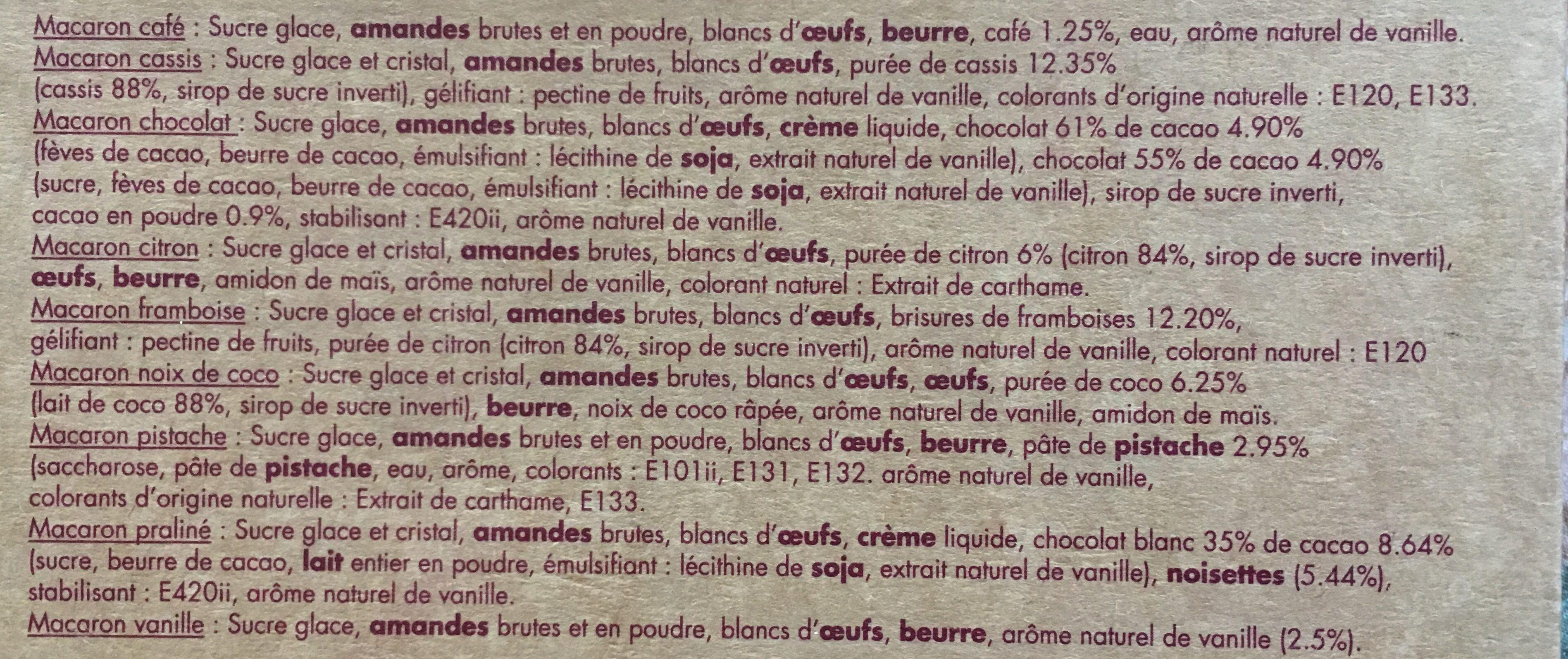 9 Macarons Frais Assortis - Ingrédients - fr