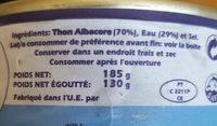 Thon Albacore au naturel - Ingredienti - fr