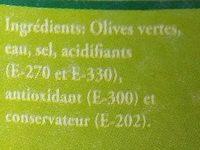 Olives Vertes Dénoyautées - Ingrediënten - fr