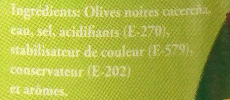 Olives Noires Dénoyautées - Ingrédients