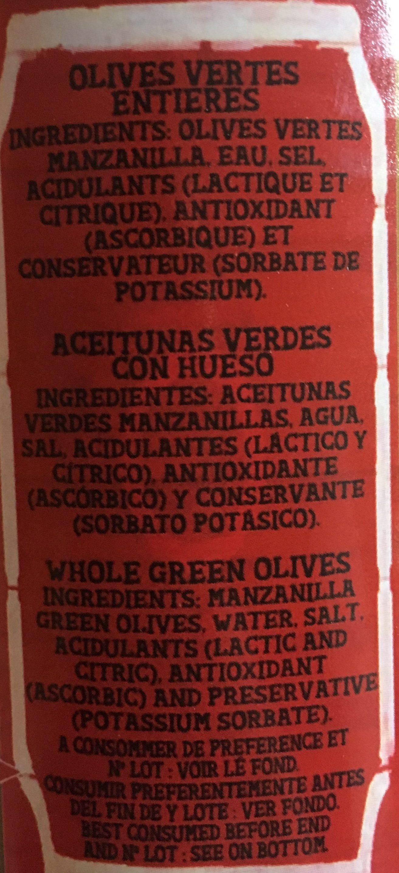 Olive vertes - Ingredients
