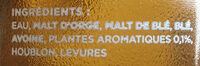 Bière artisanale blanche Mandrin - Ingredients - fr