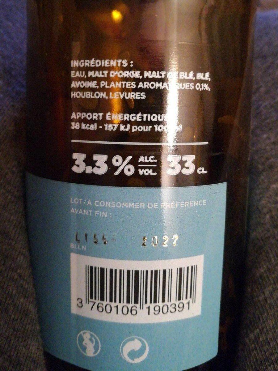 Bière artisanale blanche Mandrin - Nutrition facts - fr