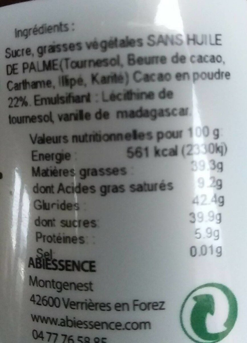 Pâte à tartiner chocolat noir - Product - fr
