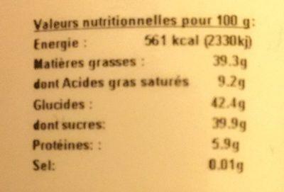 Pâte à tartiner chocolat noir - Voedingswaarden - fr