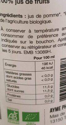 Jus de pommes - Nutrition facts - fr