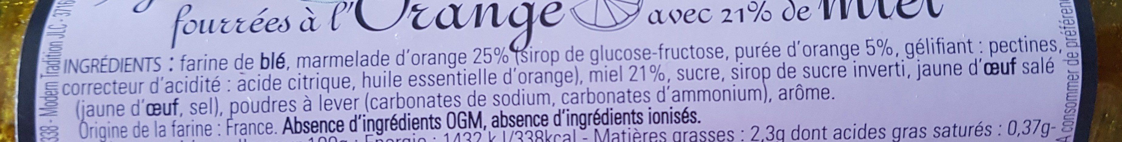 Nonnettes Fourrées à l'Orange - Ingrédients - fr