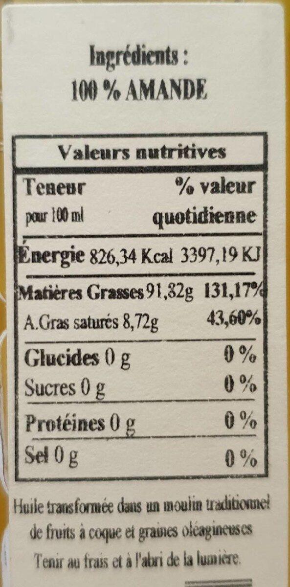 Huile vierge d'amande douce grillée - Nutrition facts