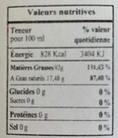 Huile Vierge Cacahuète Grillée - Nutrition facts - fr