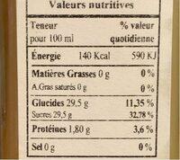 Vinaigre de Calamansi - Nutrition facts - fr