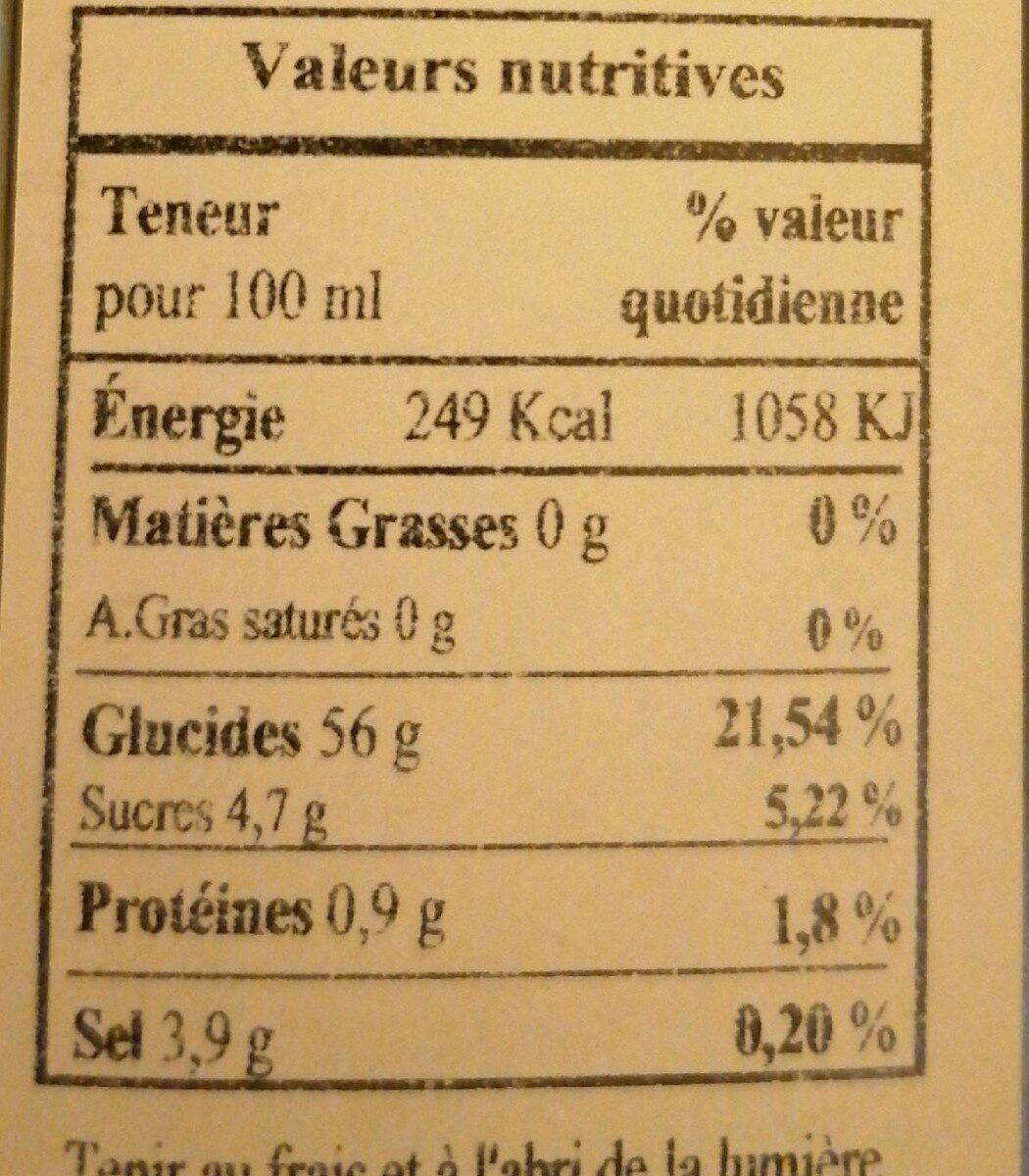 Vinaigre balsamique excellence - Nutrition facts - fr
