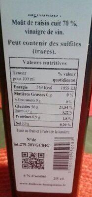 Vinaigre balsamique excellence - Nutrition facts