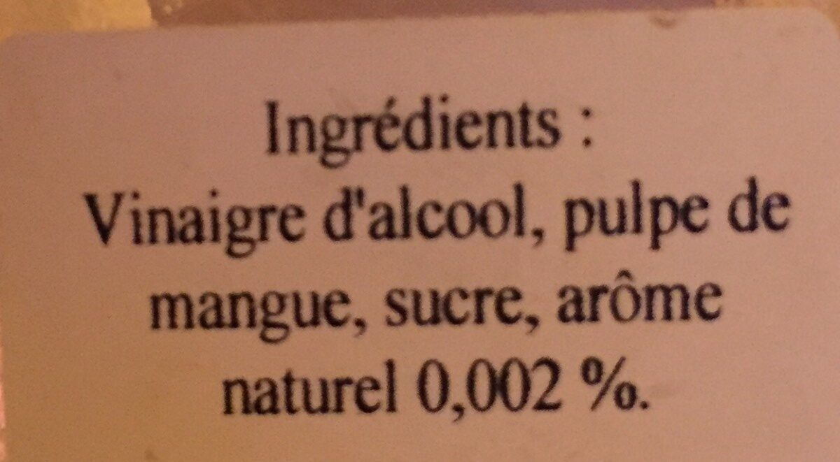 Vinaigre de mangue - Ingredients - fr
