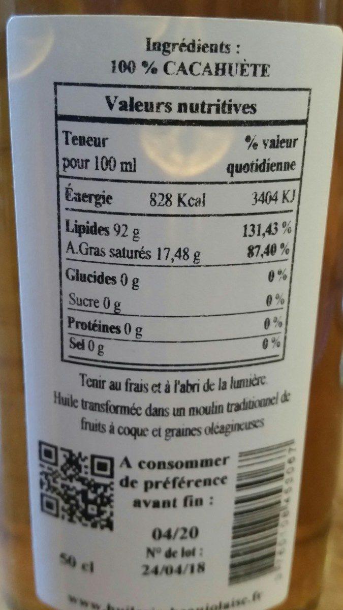 Huile vierge de cacahuète grillée - Ingredients - fr