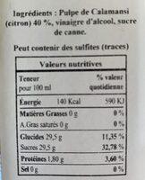 Vinaigre De Citron - Nutrition facts - fr