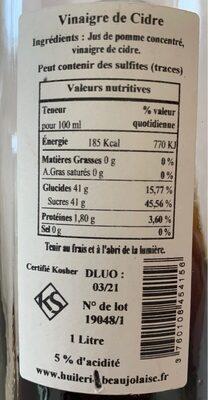 Vinaigre de Cidre - Nutrition facts - fr