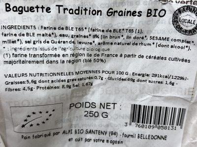 Baguette Tradition Graines BIO - Ingrédients