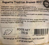 Baguette Tradition Graines BIO - Informations nutritionnelles - fr