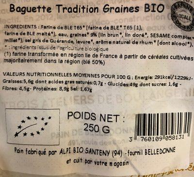 Baguette Tradition Graines BIO - Informations nutritionnelles