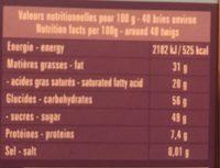 Brins De Chocolat Noir Aromatisés Thé Bergamote - Informations nutritionnelles