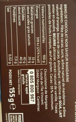 Sarments du Médoc - Informations nutritionnelles - fr
