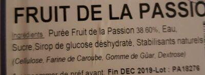 Sorbet Fruit de la Passion - Ingrédients
