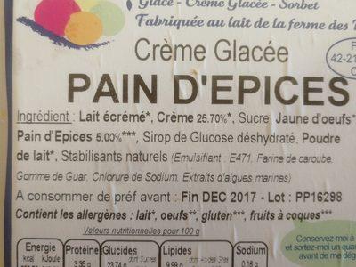 Crème glace pain d'épices - Ingrédients