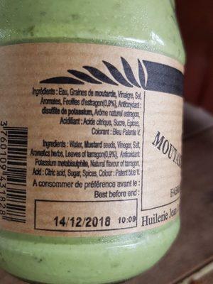 Moutarde Verte à l'estragon - Ingrédients - fr