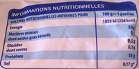 Viande hachée surgelée pur boeuf - Informations nutritionnelles - fr