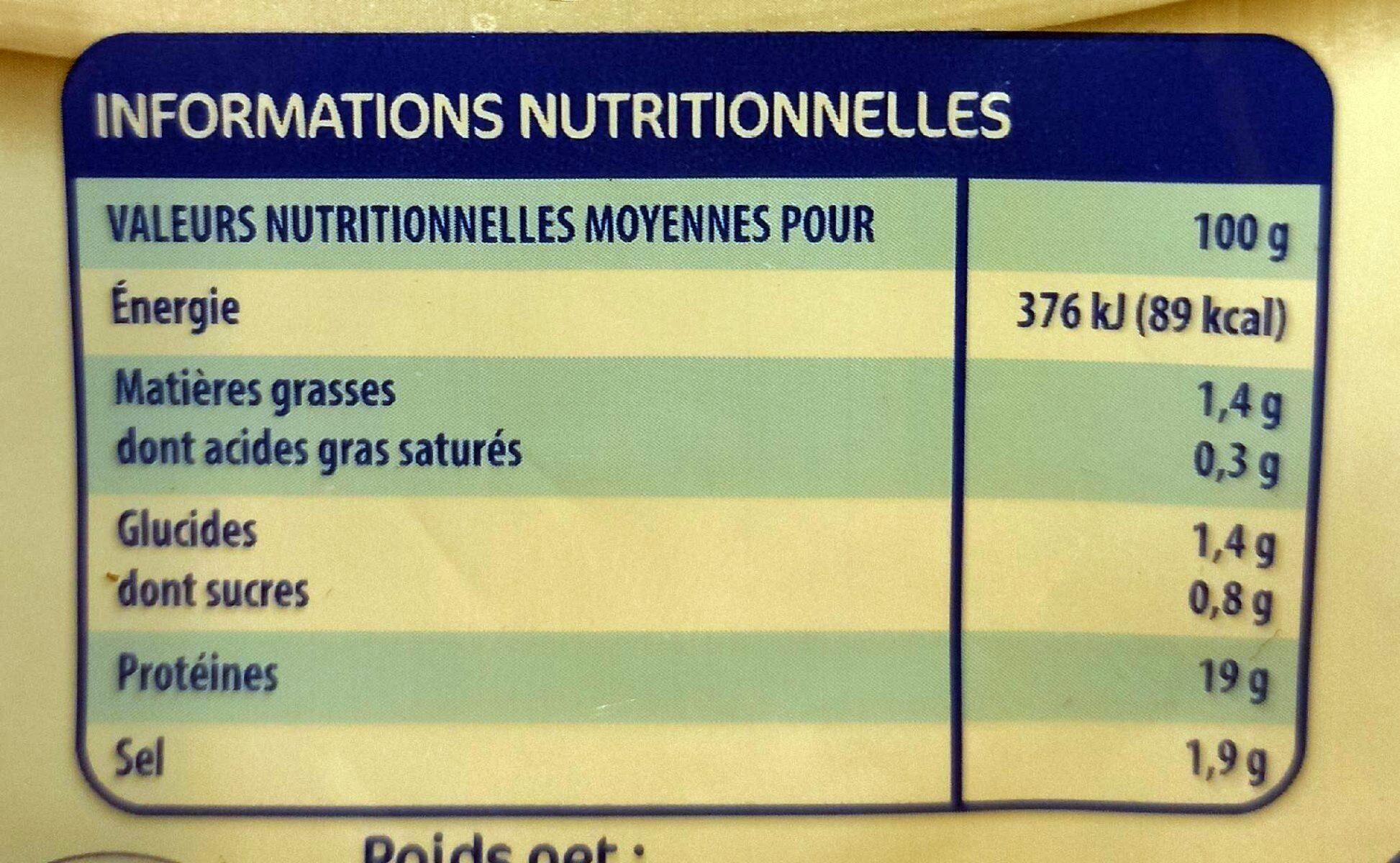 Blancs de poulet - Informations nutritionnelles - fr