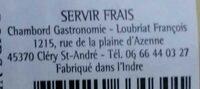 Terrine de Faisan à la bière ambrée - Informations nutritionnelles - fr