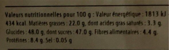 Flocon à la framboise - Nutrition facts - fr