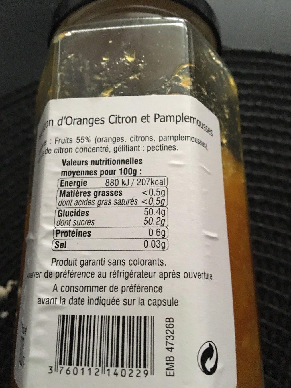 Oranges citrons pamplemousse - Voedingswaarden - fr
