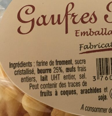 Gaufres pur beurre - Ingrédients - fr