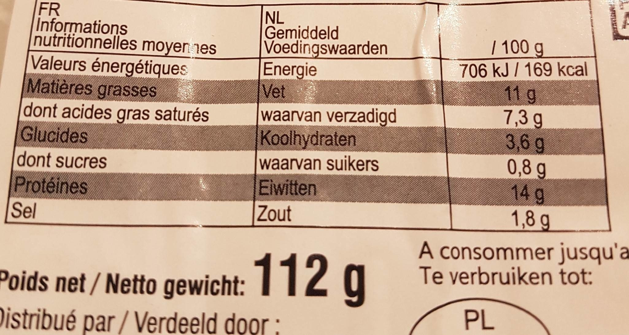112G Poulet Roules Fromages X16 Etoile Vercors - Nutrition facts
