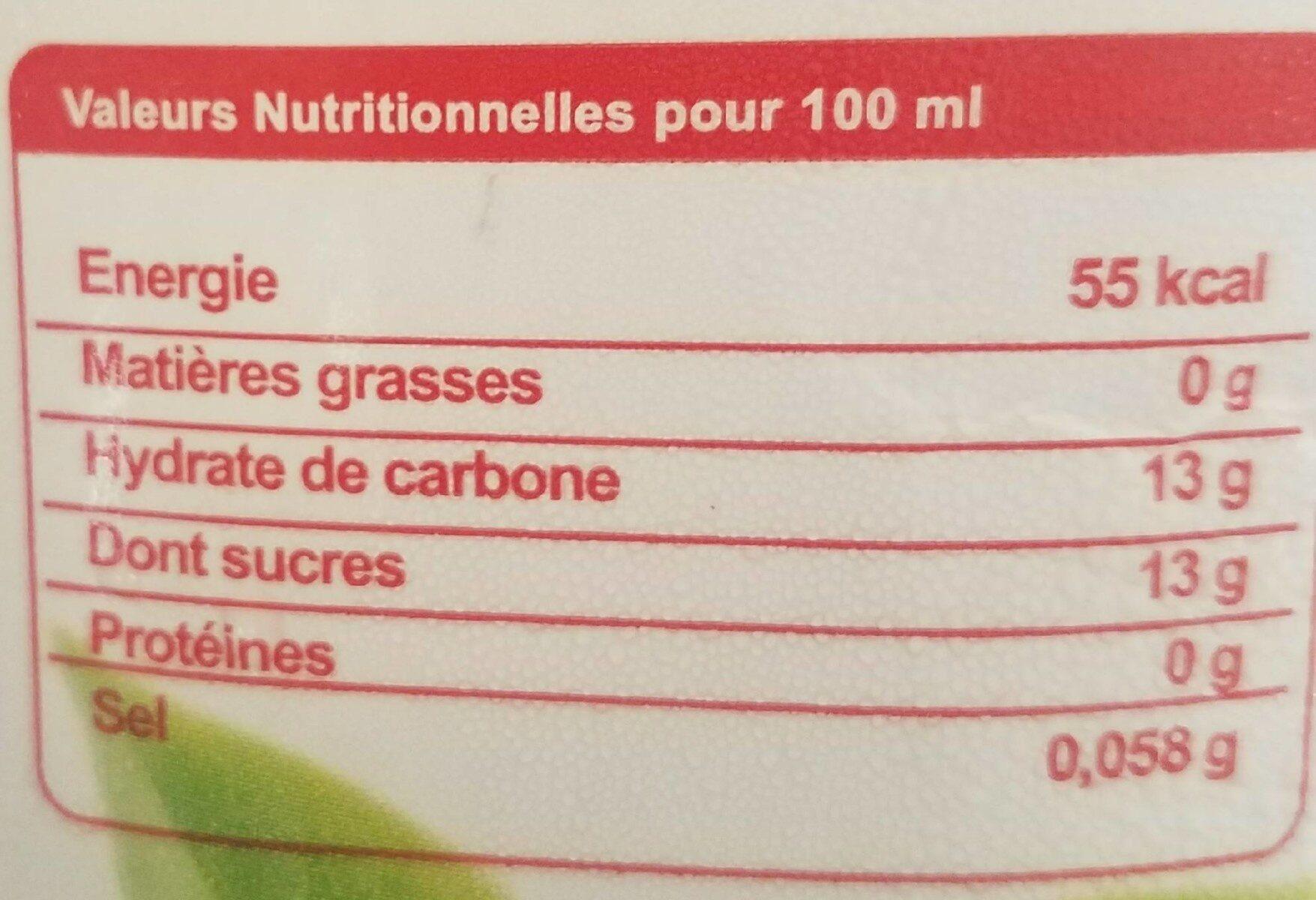 Cocktail Nectar premium - Informations nutritionnelles