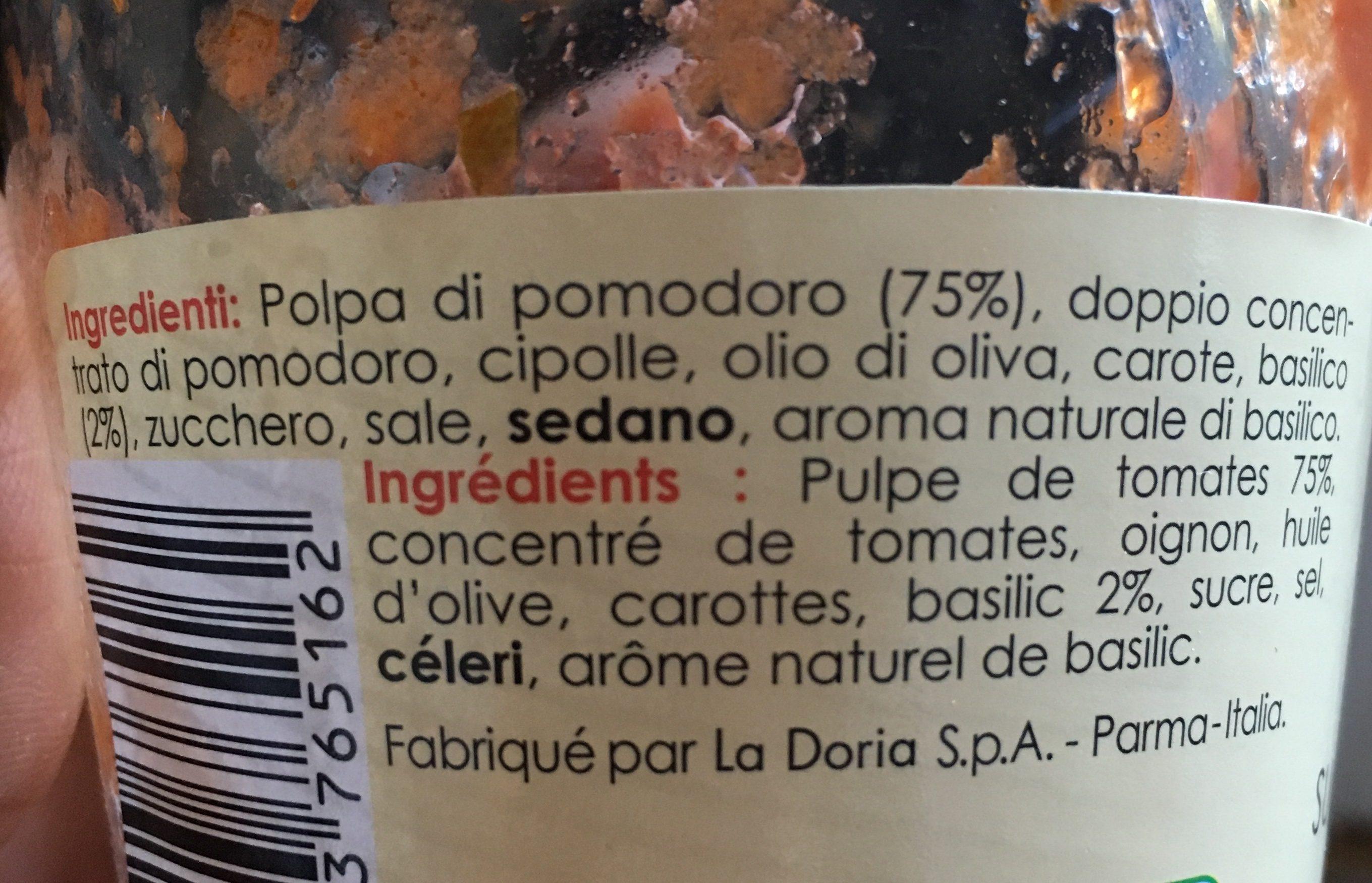 Sauce tomate basilic - Ingrédients
