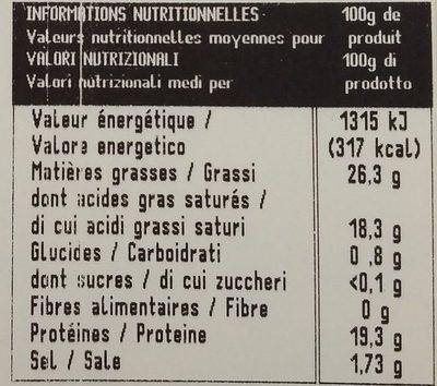 Gorgonzola DOP - Nutrition facts