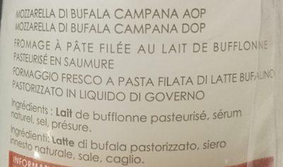 Mozzarella Di Bufala Campana DOP - Ingredients