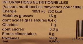 Prosciutto di Parma DOP - Informations nutritionnelles - fr