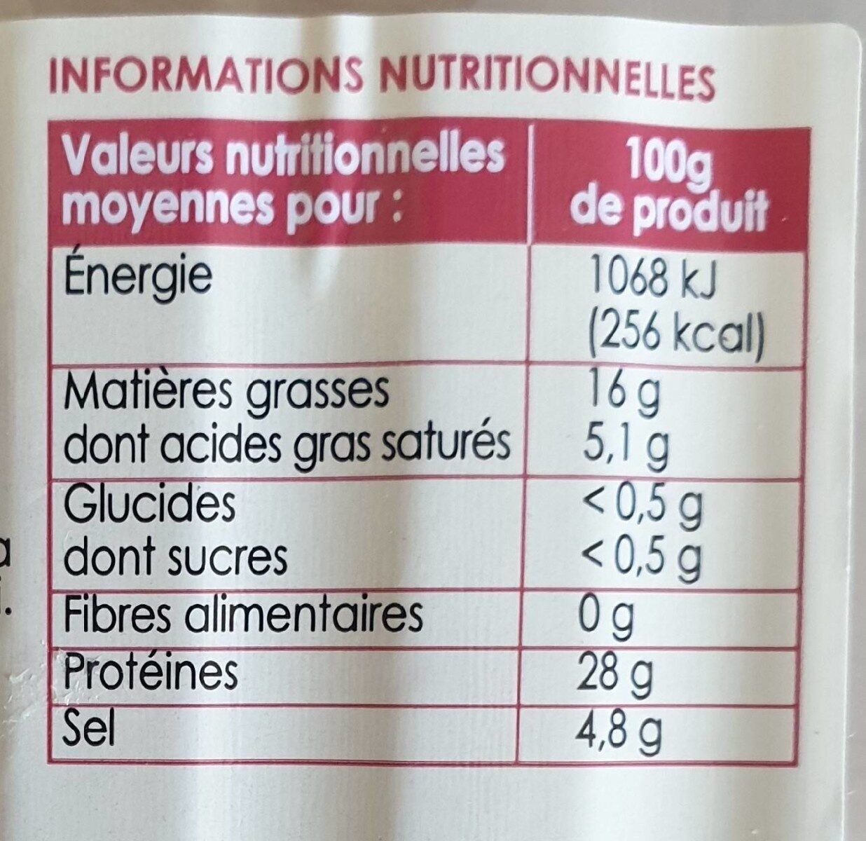 Prosciutto - Nutrition facts - fr