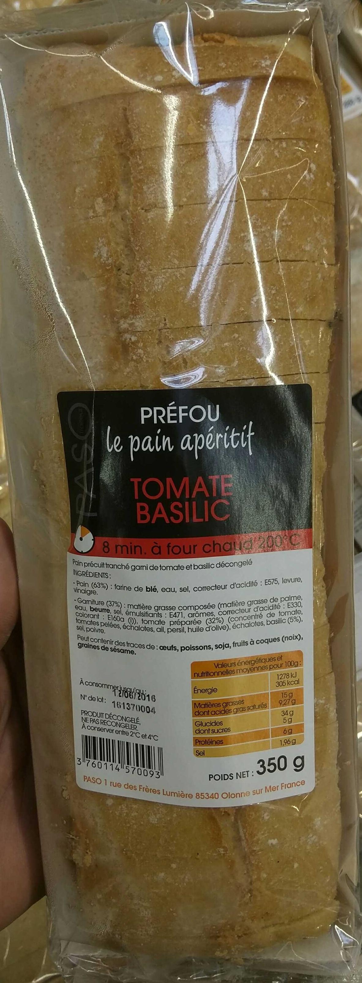 Préfou Le Pain Apéritif Tomate Basilic - Produit - fr